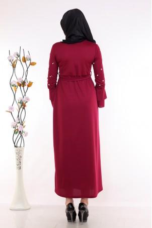 Kolu İnci Detaylı Bordo Tesettür Elbise
