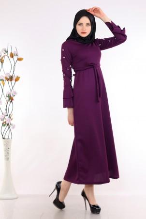 Kolu İnci Detaylı Mor Tesettür Elbise