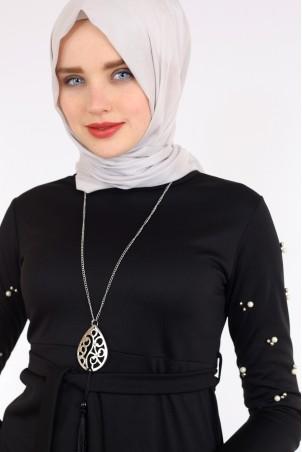 Kolu İnci Detaylı Siyah Tesettür Elbise