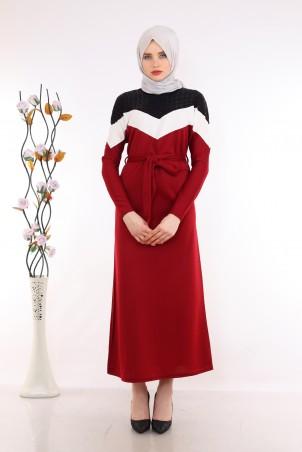 Omuzları Pul Payet Detaylı Bordo Tesettür Elbise