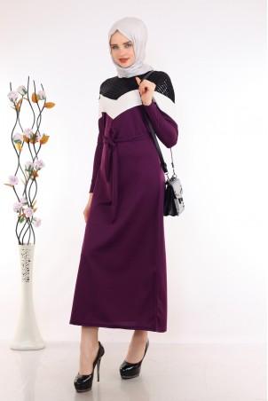 Omuzları Pul Payet Detaylı Mor Tesettür Elbise
