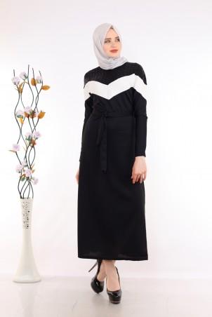 Omuzları Pul Payet Detaylı Siyah Tesettür Elbise
