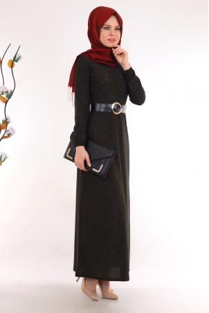 Leopar Desenli Haki Tesettür Elbise