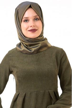 Belden Büzgülü Cepli Kadife Tesettür Elbise Haki