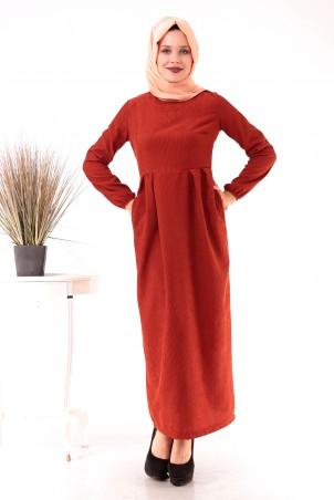 Belden Büzgülü Cepli Kadife Tesettür Elbise Kiremit
