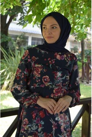 Belden Büzgülü Çiçek Desen Tesettür Elbise Lacivert