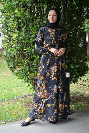 Belden Büzgülü Çiçek Desen Tesettür Elbise Siyah