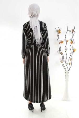 Boydan Çizgili Kuşaklı Tesettür Elbise Siyah
