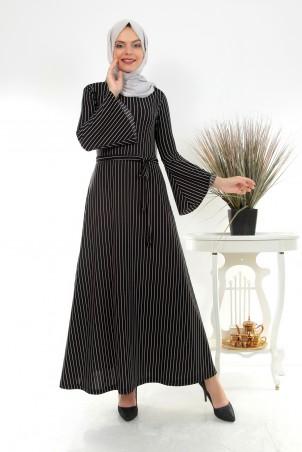 Boydan Çizgili Volan Kollu Tesettür Elbise