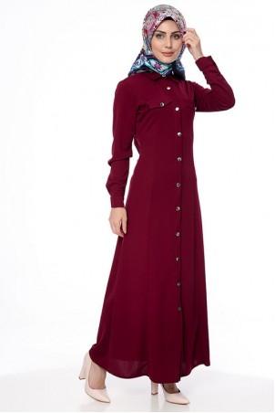 Boydan Düğmeli Cepli Tesettür Elbise Bordo
