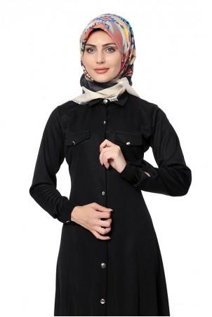 Boydan Düğmeli Cepli Tesettür Elbise Siyah