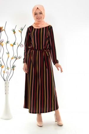 Boydan Renkli Çizgili Kuşaklı Tesettür Elbise