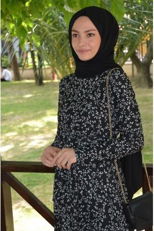 Çiçek Desenli Elbise Siyah Beyaz