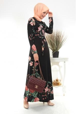 Çiçek Desenli Kuşaklı Tesettür Elbise