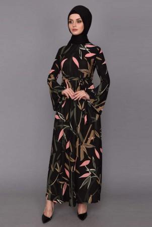 Çiçek Desenli Tesettür Elbise İspanyol Kol