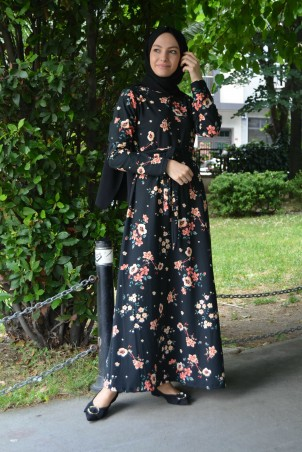 Çiçekli Desen Belden Kuşaklı Elbise