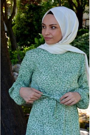 Çıtır Çiçek Desen Elbise Mint Yeşili