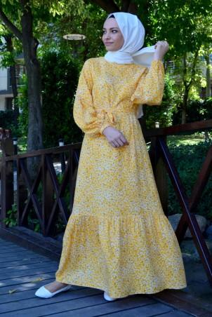 Çıtır Çiçek Desen Elbise Sarı