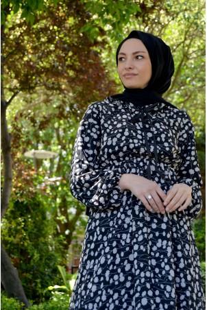 Çıtır Desenli Belden Büzgülü Şifon Elbise