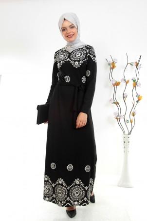 Dantel Desenli Tesettür Elbise Siyah