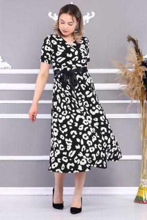 Desenli Kuşaklı Elbise Siyah Beyaz