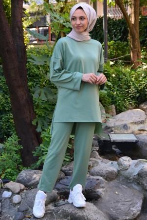 Duble Kol İkili Takım Mint Yeşili