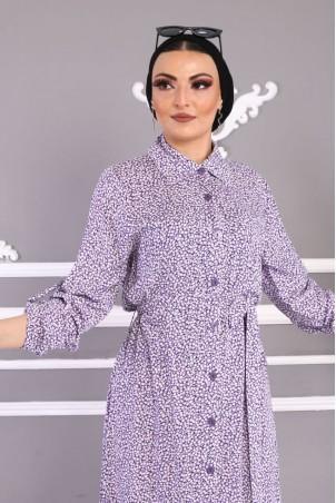 Düğmeli Çiçekli Elbise Mor
