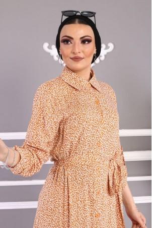 Düğmeli Çiçekli Elbise Vizon