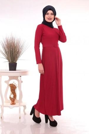 Eteği Piliseli Kemerli Tesettür Elbise Bordo