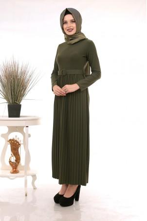Eteği Piliseli Kemerli Tesettür Elbise Haki