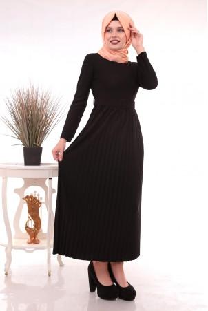 Eteği Piliseli Kemerli Tesettür Elbise Siyah