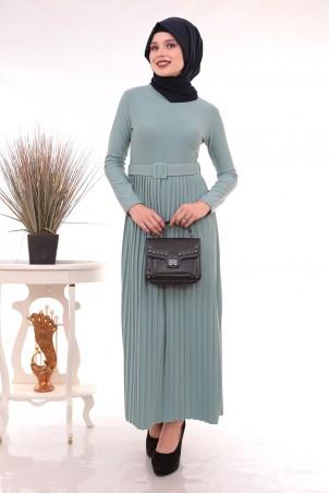 Eteği Piliseli Kemerli Tesettür Elbise Su Yeşili
