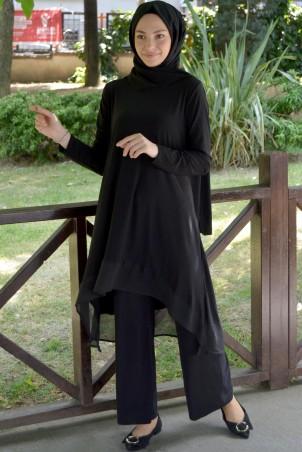 Eteği Şifon Detaylı Kombin Siyah