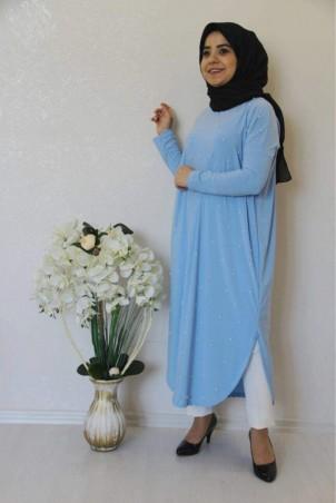 Giy Çık İncili Tesettür Tunik Bebe Mavisi