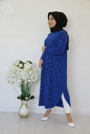 Giy Çık İncili Tesettür Tunik Saks Mavisi