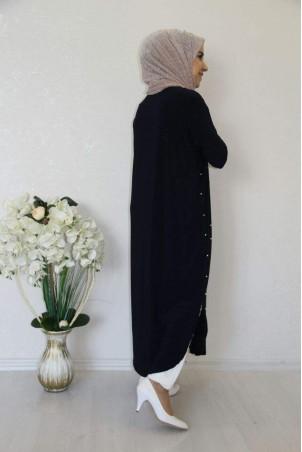 Giy Çık İncili Tesettür Tunik Siyah