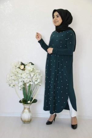 Giy Çık İncili Tesettür Tunik Zümrüt Yeşili