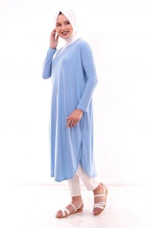 Giy Çık Tesettür Tunik 7895 Bebe Mavisi