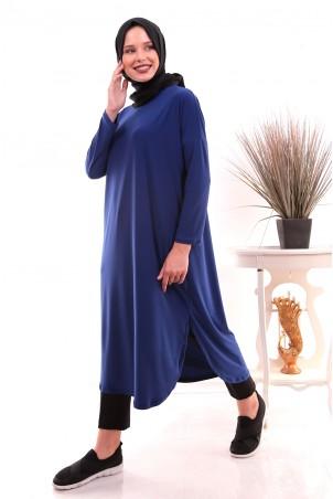 Giy Çık Tesettür Tunik 7895 Saks Mavisi