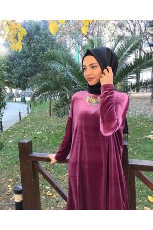 Giy Çık Tesettür Tunik Kadife 7896 Gül Kurusu
