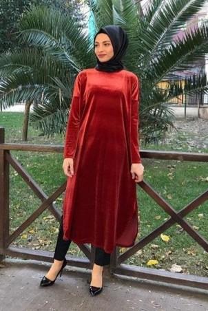 Giy Çık Tesettür Tunik Kadife 7896 Kiremit