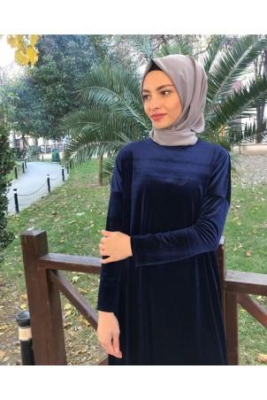 Giy Çık Tesettür Tunik Kadife 7896 Lacivert