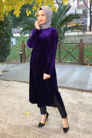 Giy Çık Tesettür Tunik Kadife 7896 Mor