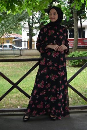 Gül Desen Şifon Elbise