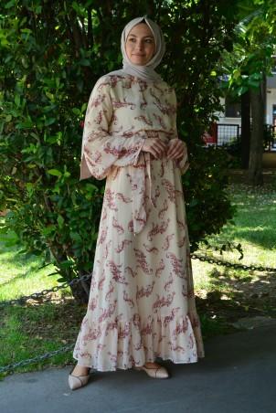 Kahve Yaprak Desenli Şifon Elbise