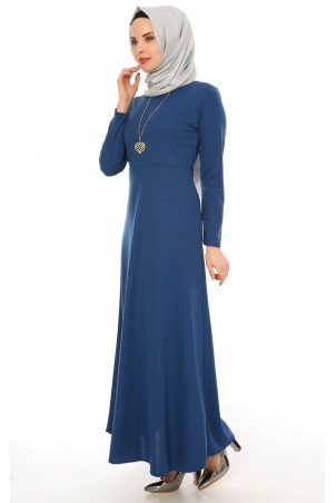 Kalp Kolyeli Tesettür Elbise İndigo