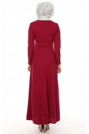 Kalp Kolyeli Tesettür Elbise Şarabi