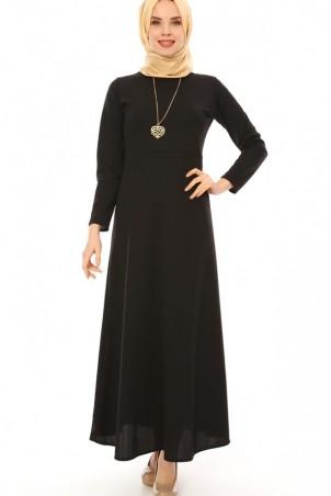 Kalp Kolyeli Tesettür Elbise Siyah