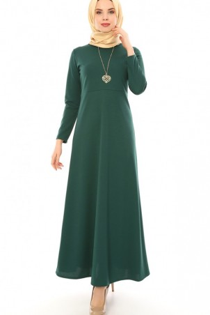 Kalp Kolyeli Tesettür Elbise Zümrüt