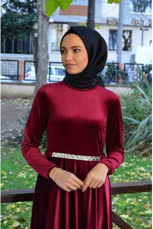 Kemerli Tesettür Elbise Kadife 2929 Bordo
